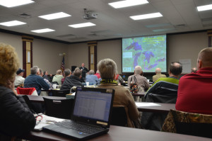 Attendees listen to Dr. Jeffrey Reutter of Ohio Sea Grant in Ottawa.